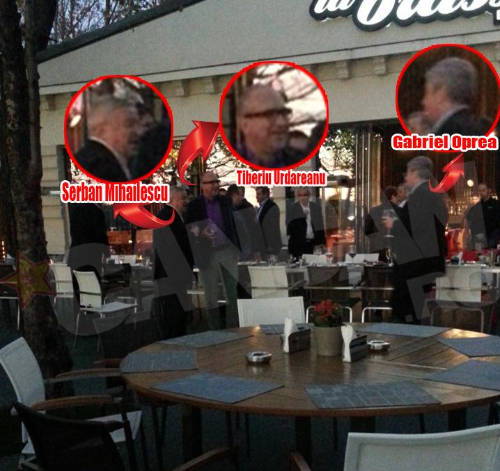 Gabriel Oprea, Miki Spaga si Tiberiu Urdareanu au dezbatut relaxati, cu paharele in maini