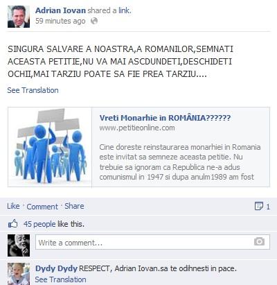 Pagina de Facebook dedicata memoriei lui Adrian Iovan promoveaza diferite campanii sociale