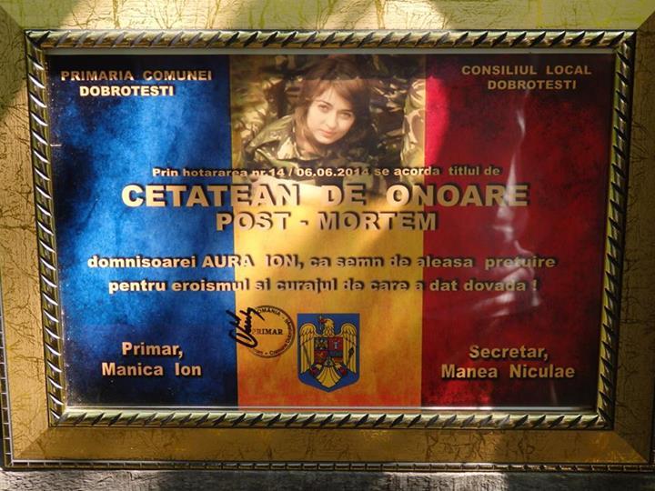 Aura Ion a fost facuta cetatean de onoare al comunei in care a copilarit