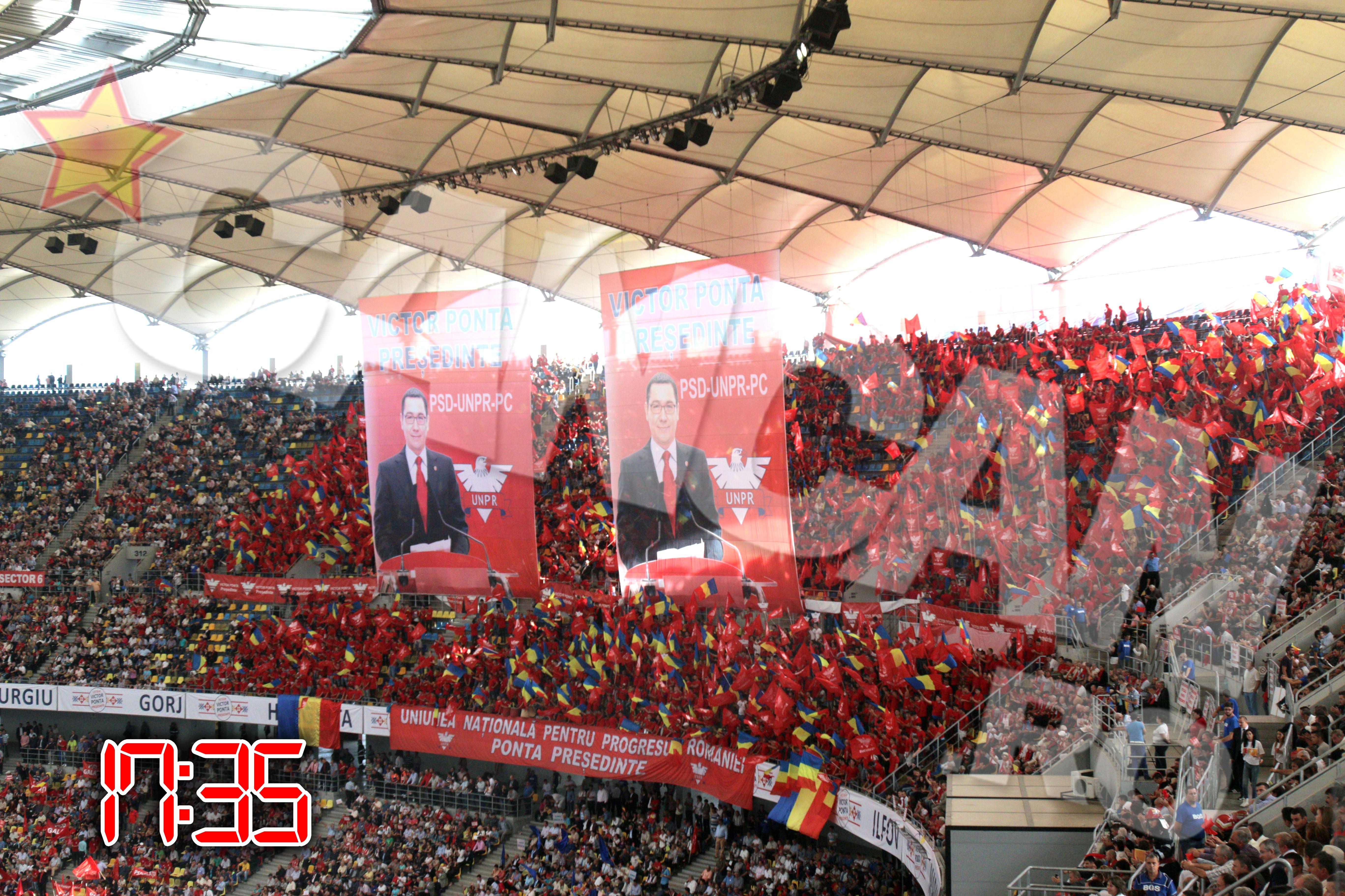 Peste 70.000 de oameni, un stadion arhiplin, i-au fost alaturi lui Victor Ponta in cea mai importanta zi din cariera lui politica de pana acum