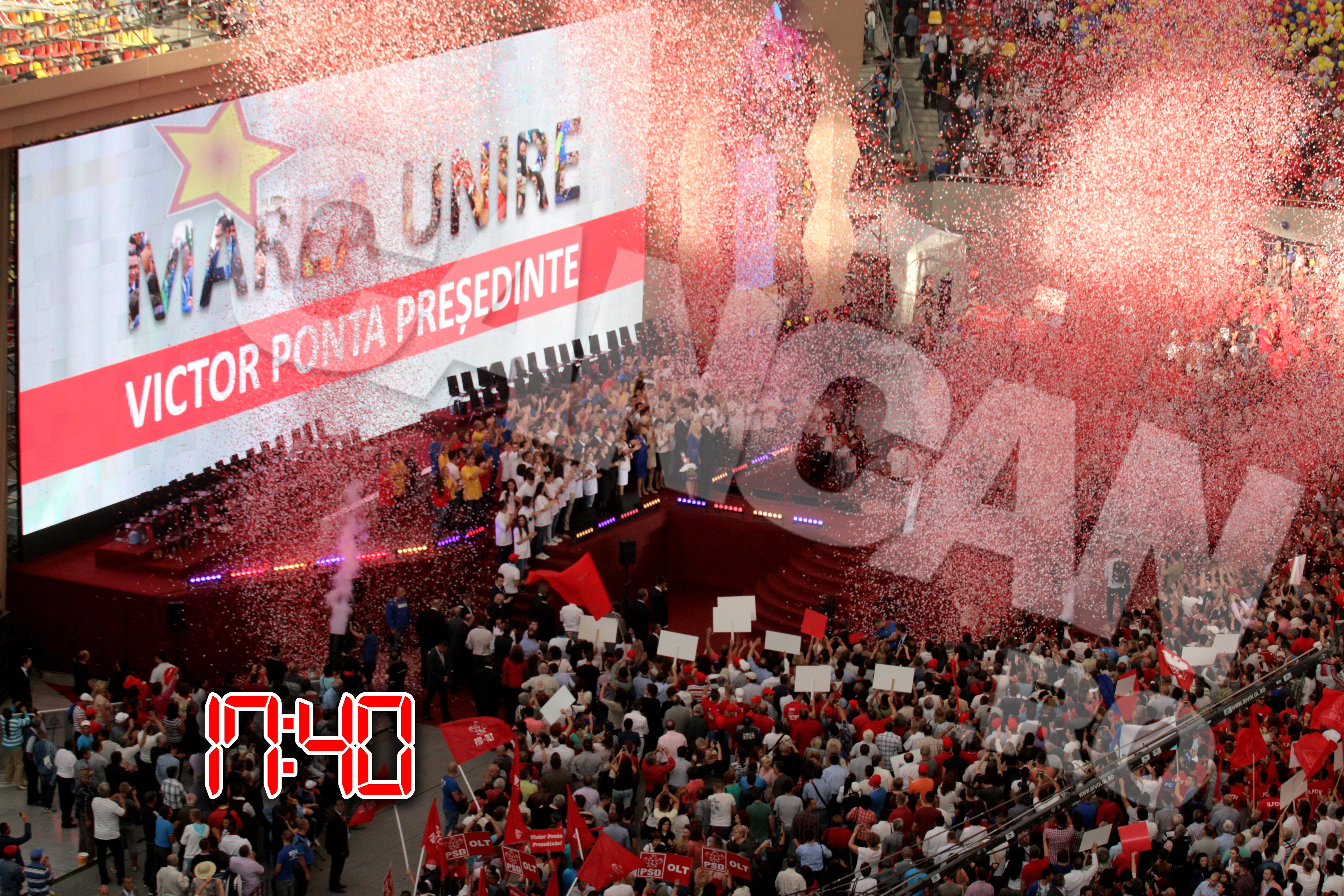 Ponta si-a terminat discursul in uralele salii, iar milioane de confetii au umplut stadionul