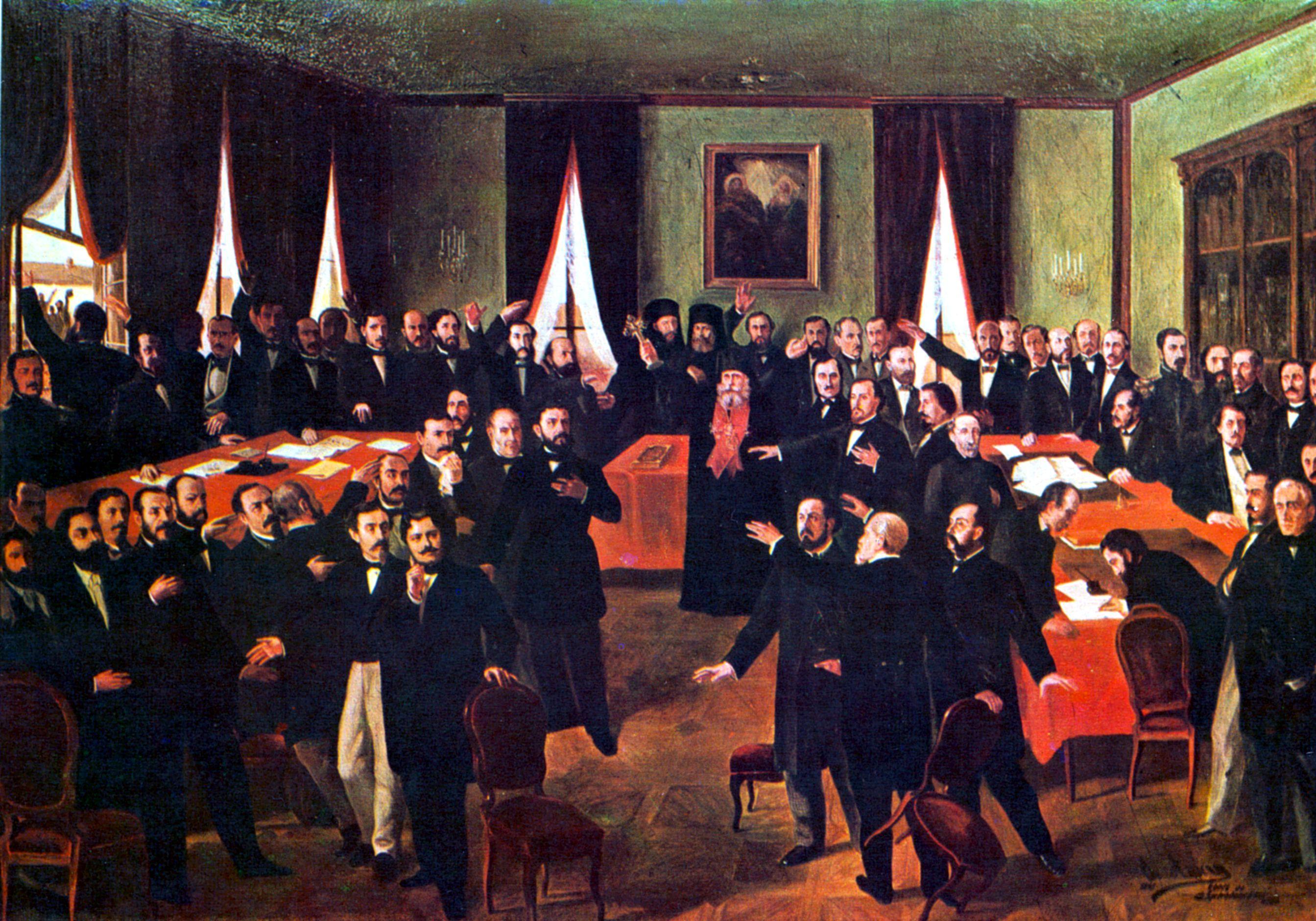 Unirea Principatelor (tablou realizat de Theodor Aman) a insemnat, practic, actul de nastere al Romaniei Moderne
