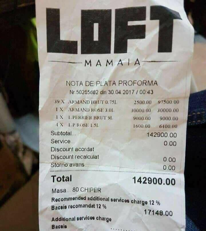Nota de plată de peste 30.000 de euro de la LOFT, care a făcut înconjurul televiziunilor