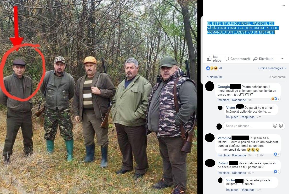 El este Irinel Niţulescu, paznicul de vânătoare, care l-a confundat fiul primarului din comuna dâmboviţeană Ludeşti. Sursa foto: Facebook