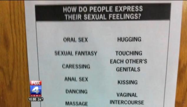 Mai multe postere cu sfaturi despre sex au fost lipite prin liceu