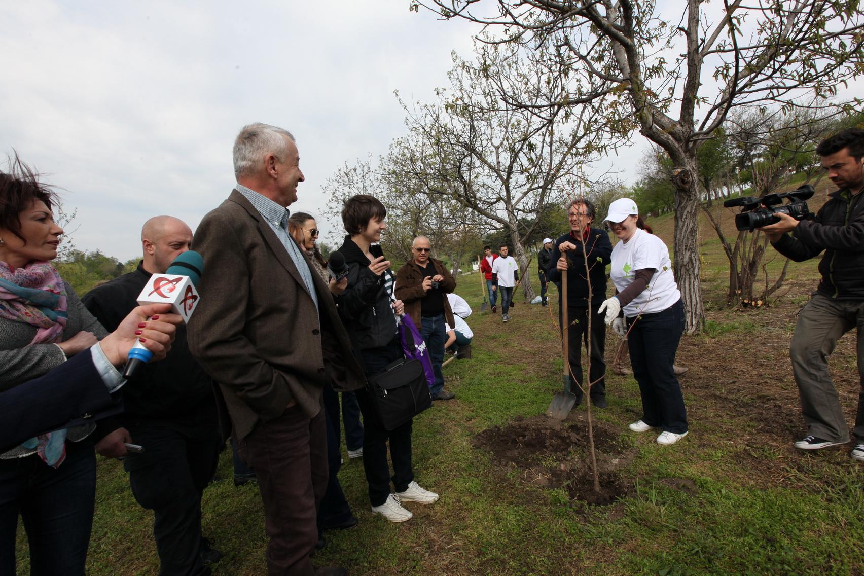 Sorin Oprescu a plantat copaci in Parcul Tineretului