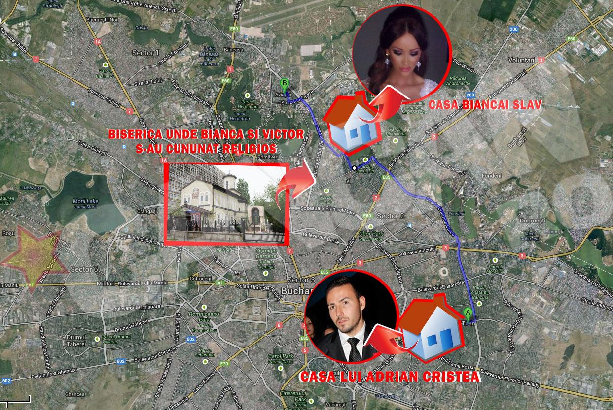 In drumul lui a trecut atat prin fata blocului in care locuieste Bianca, actualmente Slav, cat si prin fata bisericii in care, taman in acelasi interval, roscata se marita