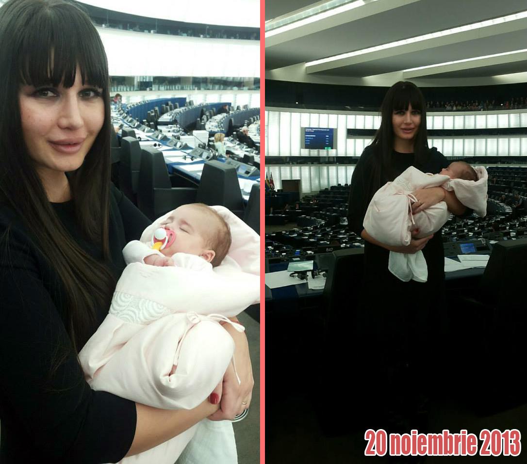La trei luni si jumatate, Elena Basescu si-a dus fetita pentru prima data in Parlamentul European