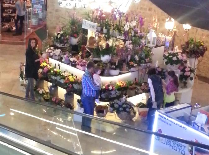 Anca Serea cumpara flori pentru prietena ei