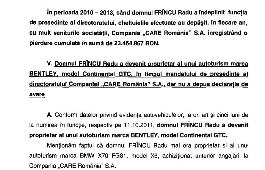 Prima dovada ca presedintele CARE a prosperat in perioada in care a detinut fraiele Companiei, cumparandu-si o masina de lux evaluata la aproape 250.000 de euro