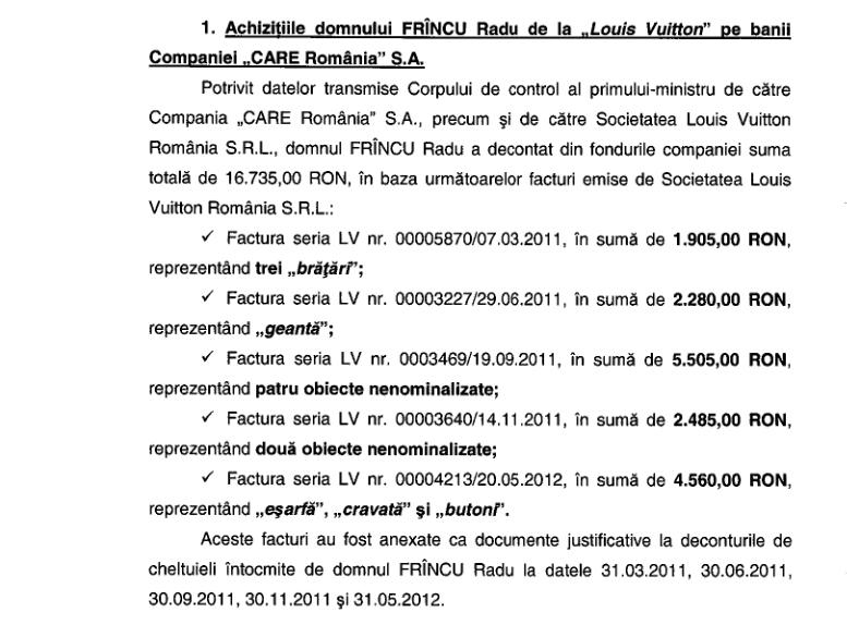 Inspectorii guvernamentali au scos la iveala faptul ca Frincu si-a platit din banii CARE pana si bijuteriile personale