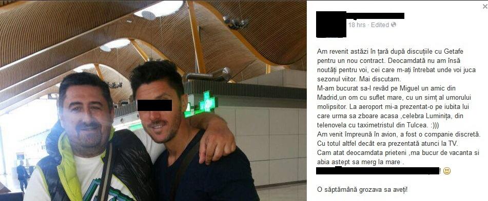 Printr-un mesaj postat pe Facebook, insotit de o fotografie, fotbalistul a incercat sa se scuze pentru faptul ca a fost vazut impreuna cu Luminita Perijoc