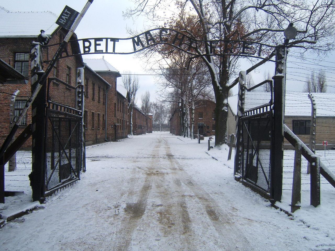 """La Auschwitz, detinutii erau intampinati inca de la poarta de sloganul """"Arbeit macht frei!"""" (Munca te elibereaza!)"""