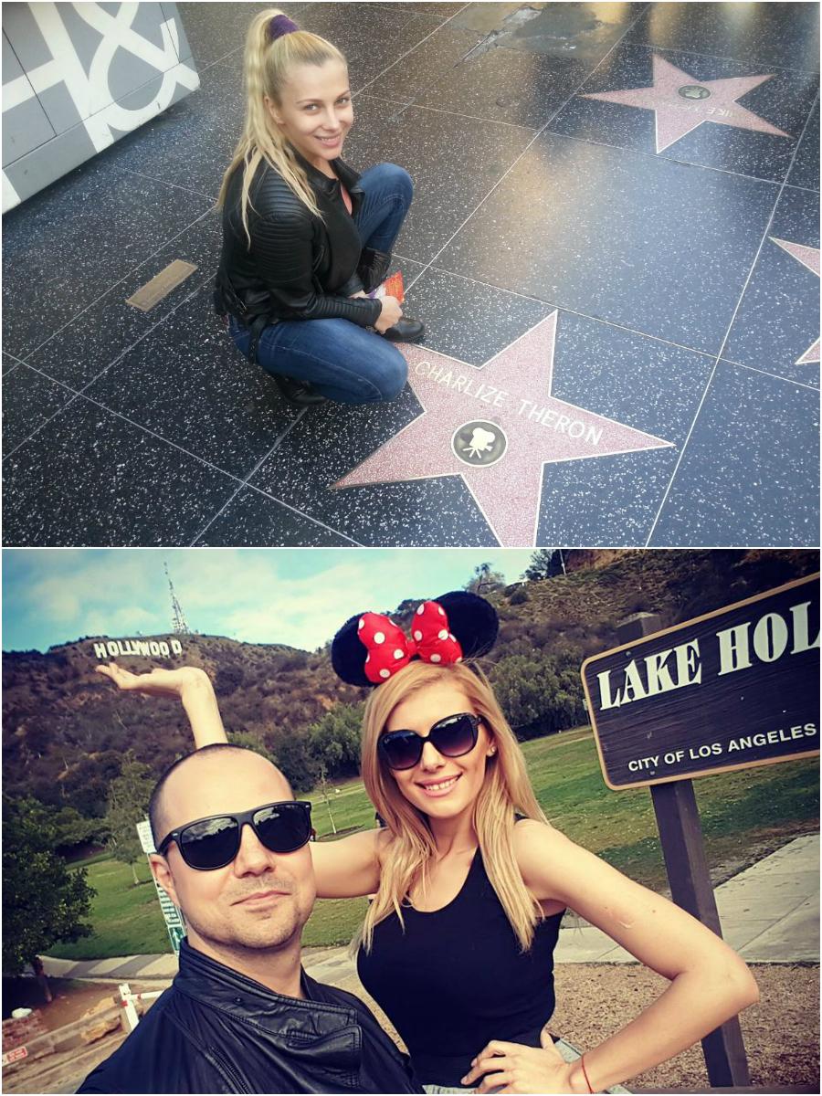 Lora (foto sus) ajungea în 2013 alături de Dan Badea în Los Angeles, iar la sfârşitul anului trecut, actorul de stand-up comedy o ducea acolo şi pe Mădălina