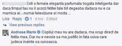 O utilizatoarea a acuzat-o pe Andreea Marin că nu petrece suficient timp cu fetiţa ei.