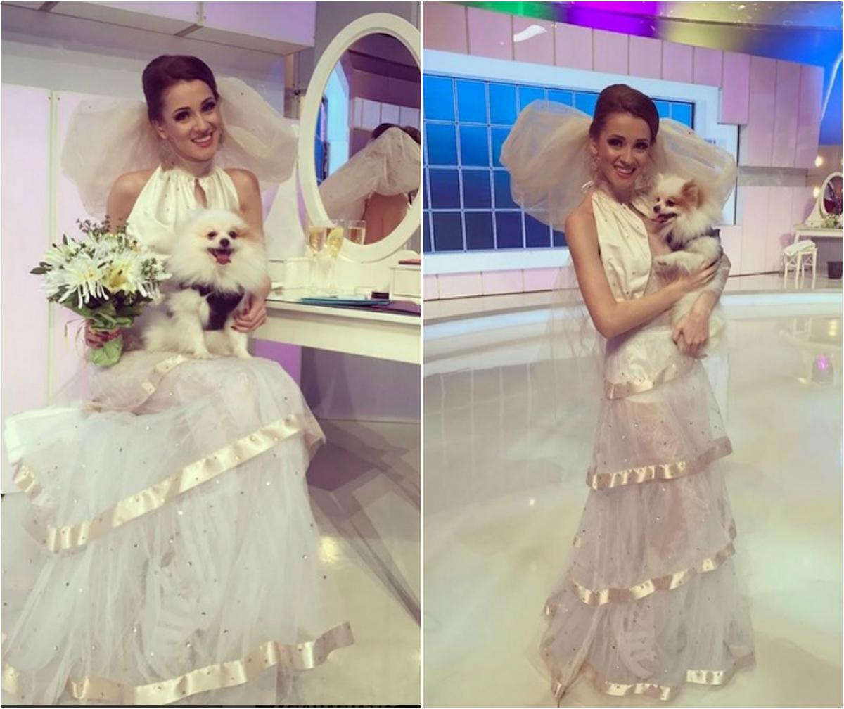 Cunoscuta asistentă TV a făcut rapid publice imaginile cu ea în rochie de mireasă