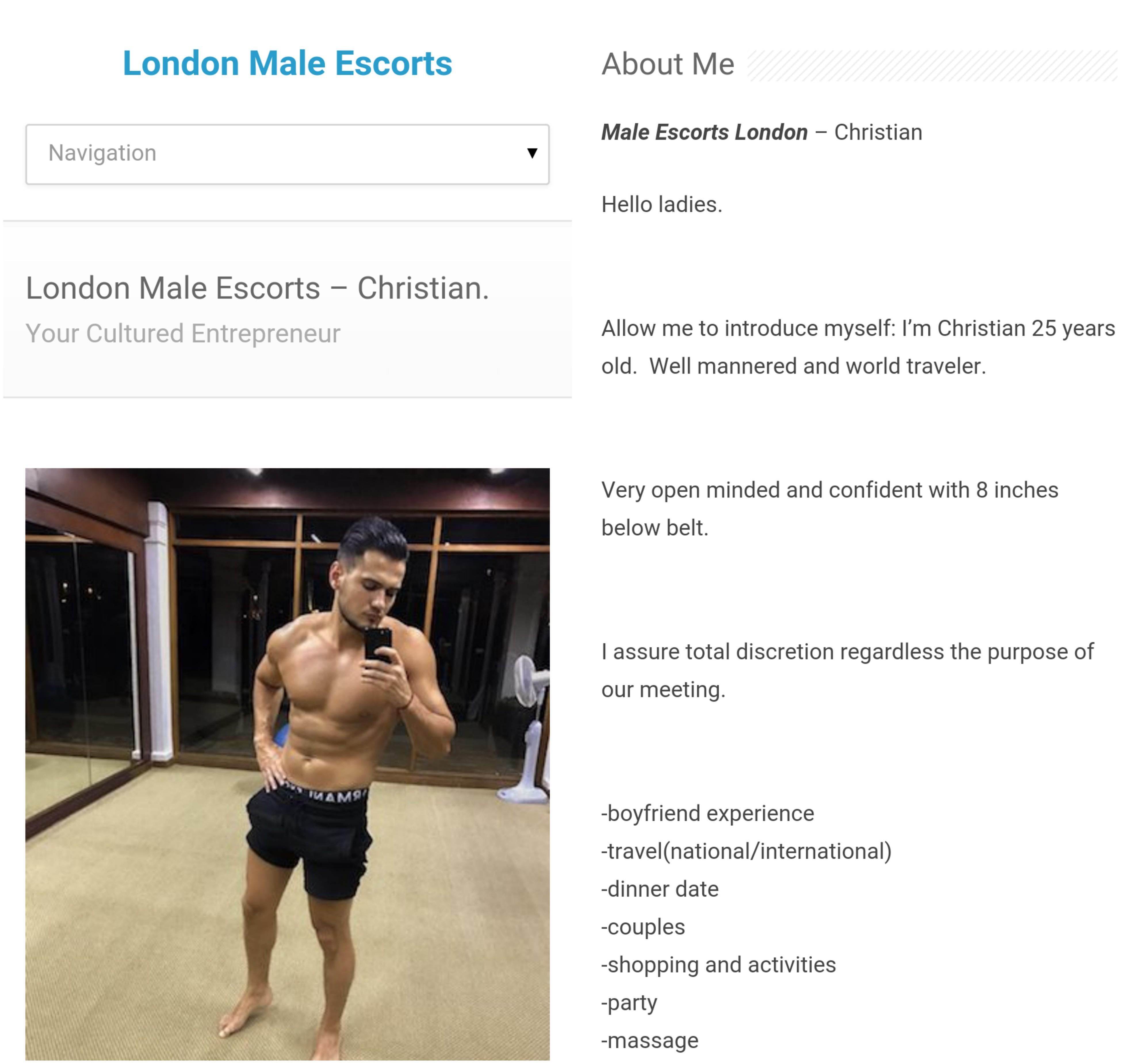 Aşa se prezintă Cristian pe un site de escorte masculine
