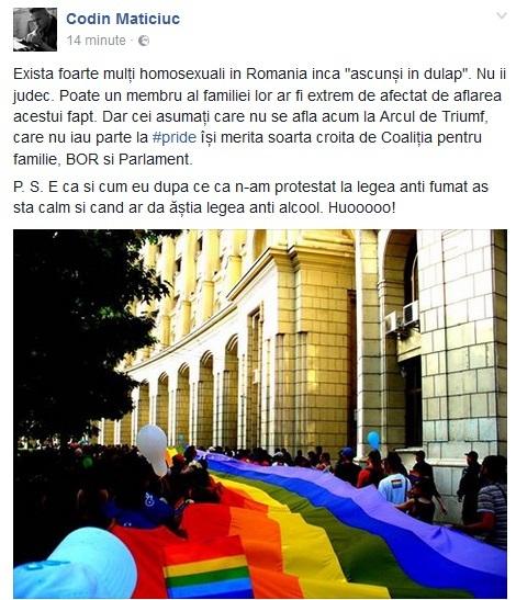 Codin Maticiuc, mesaj pentru membrii comunităţii LGBT