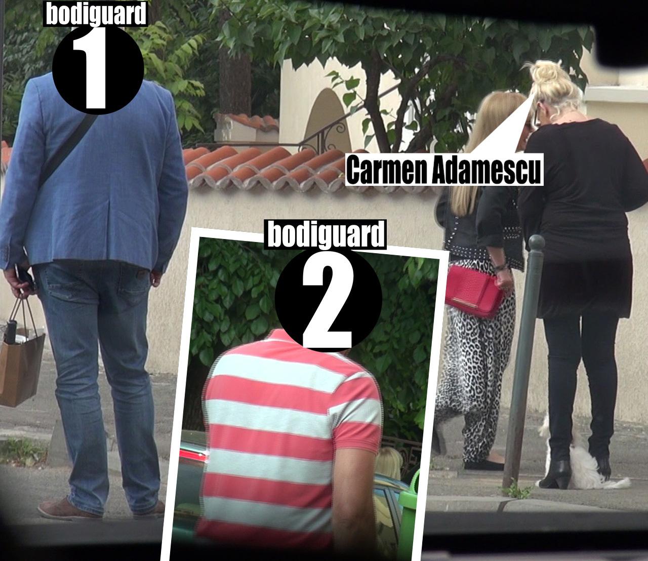 Carmen Adamescu a avut în preajma sa doi bodyguarzi, câtă vreme s-a plimbat alături de amica sa