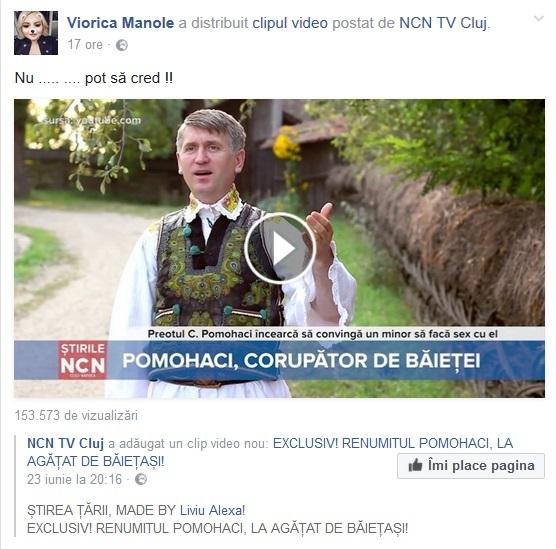 Viorica de la Clejani, şocată de acuzaţiile care i se aduc preotului Cristian Pomohaci