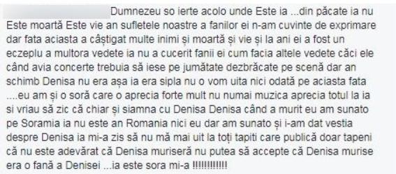 Mesajul despre Denisa Manelista, publicat pe Facebook de utilizatoarea Cristina