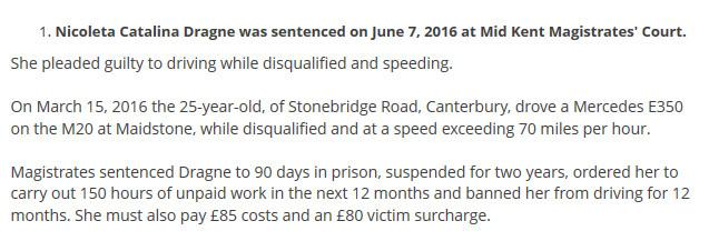 Dovada că ispita Nicoleta a fost condamnată la închisoare cu suspendare în Marea Britanie