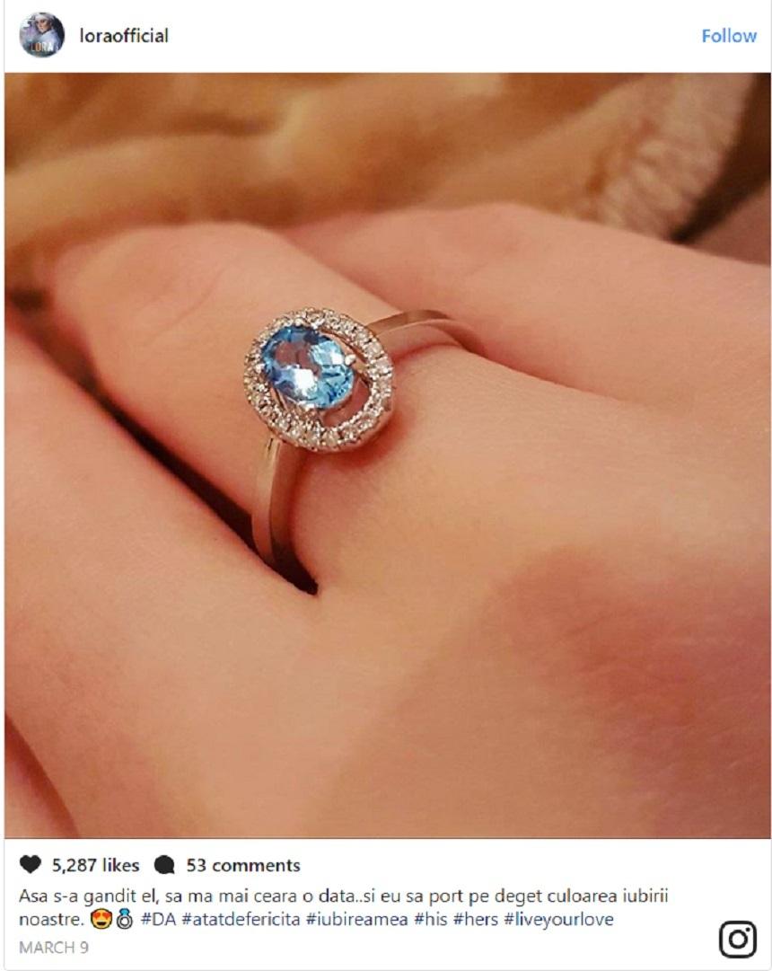 Cel de-al doilea inel de logodnă primit de Lora de la Ionuţ Ghenu. Sursa foto: Instagram