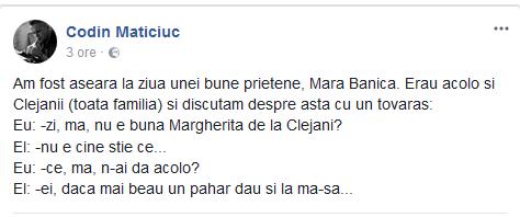 Codin Maticiuc, mesaj despre Margherita de la Clejani