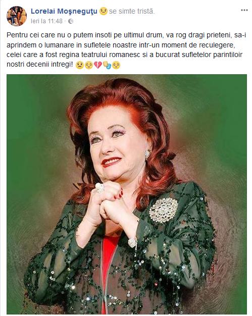 Lorelai Moşneguţu, mesaj sfâşietor după moartea Stelei Popescu