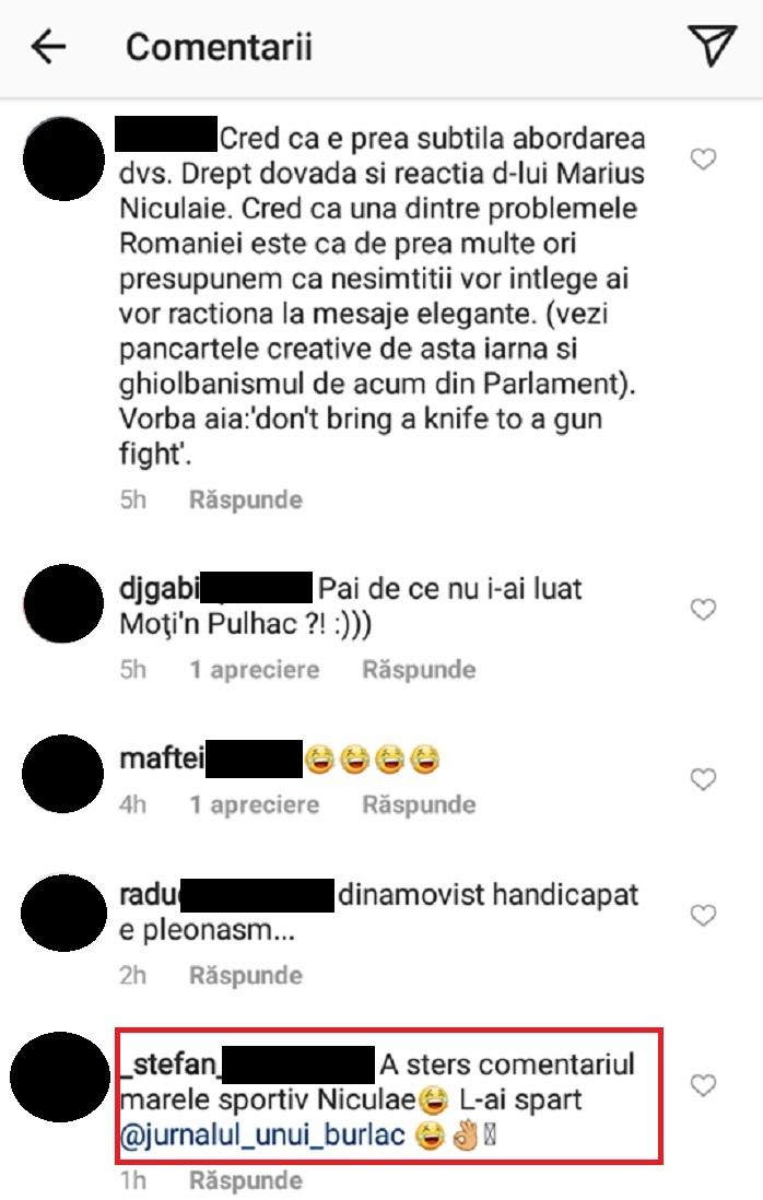 Ştefan, un internaut, a comentat faptul că fostul sportiv a şters mesajul pe care îl lăsase la postarea lui Mihai Bendeac. Sursa foto: Instagram
