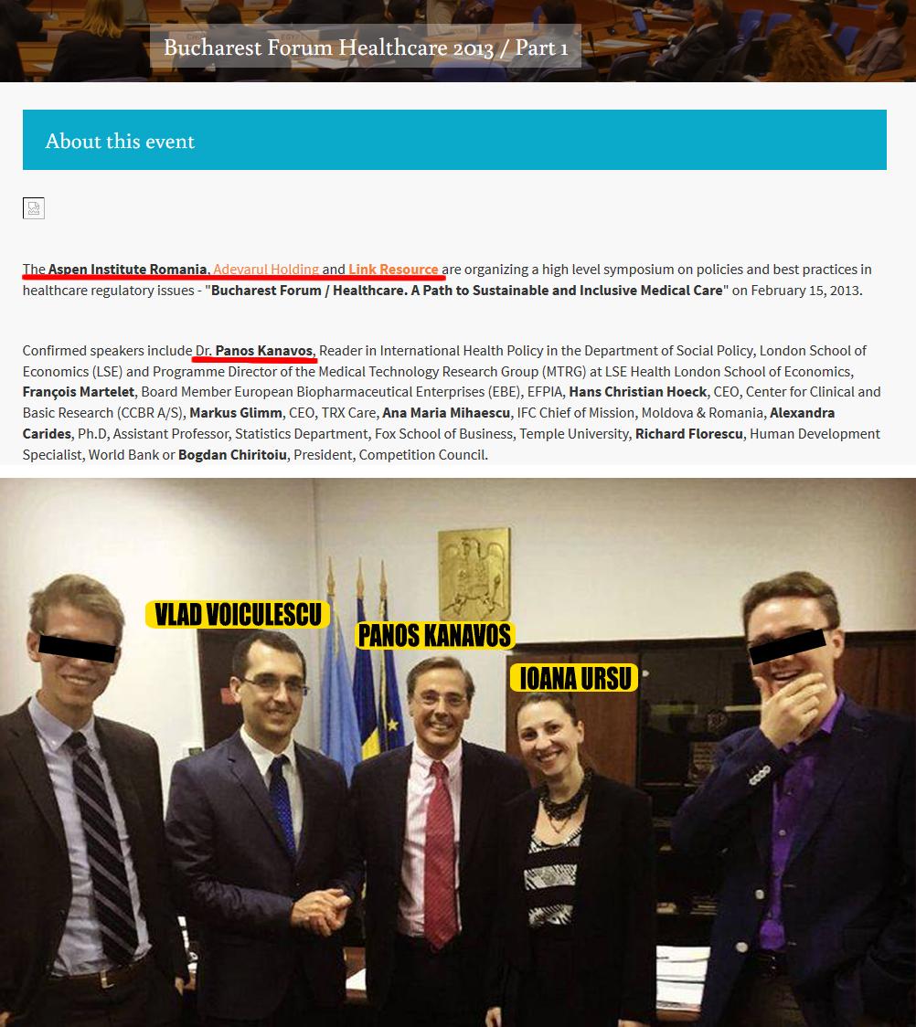 """În 2013, profesorul Panos Kanavos venea la Bucureşti ca invitat al lobbyistului Nic Voiculescu (FOTO MĂRTURIE SUS), iar acum a """"aterizat"""" în Ministerul Sănătăţii ca să-i sfătuiască pe nepotul lui Don Nic, Vlad Voiculescu, şi pe secretara de stat a acestuia, Ioana Ursu (FOTO JOS)"""