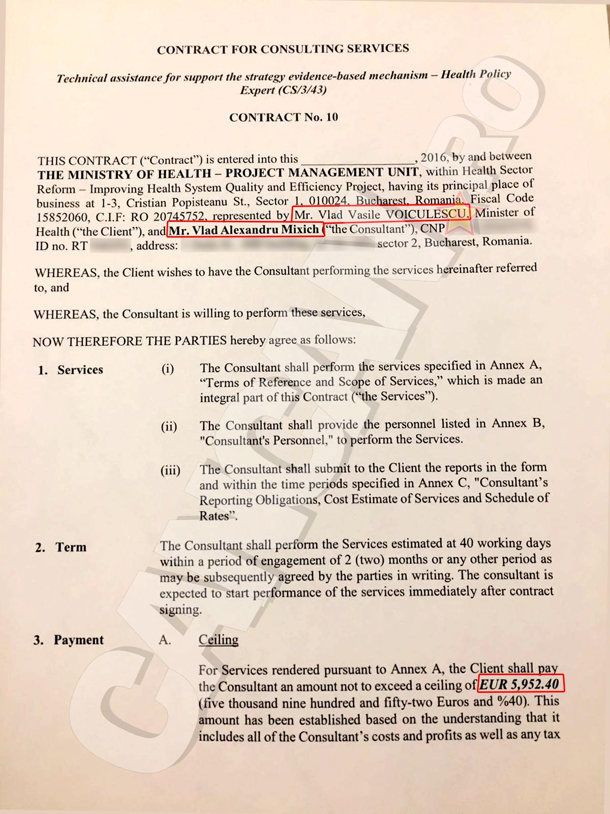 PREMIERĂ. Acesta este documentul (draft) prin care Ministerul Sănătăţii se angaja să-i plătească lui Mixich 6.000 de euro în schimbul unor servicii de consultanţă