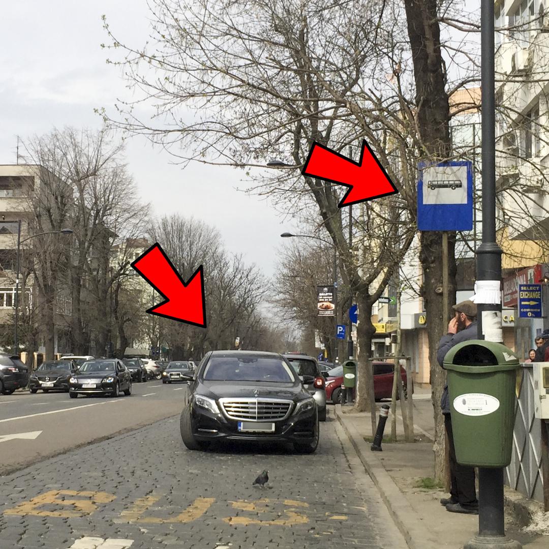 Gigi Becali și-a parcat limuzina pe contrasens, în stația de autobuz, ușor pe diagonală