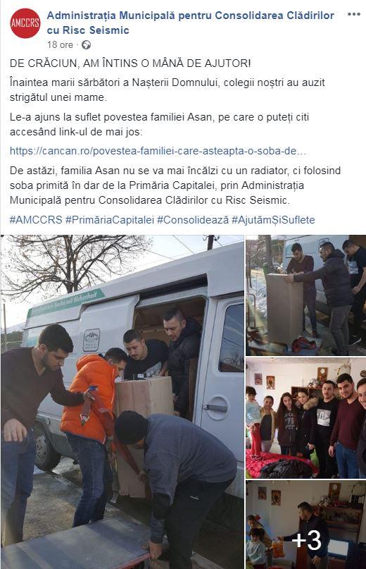 Aceasta este postarea pe Facebook a Administrației, după ce s-a rezolvat cazul familiei fără sobă