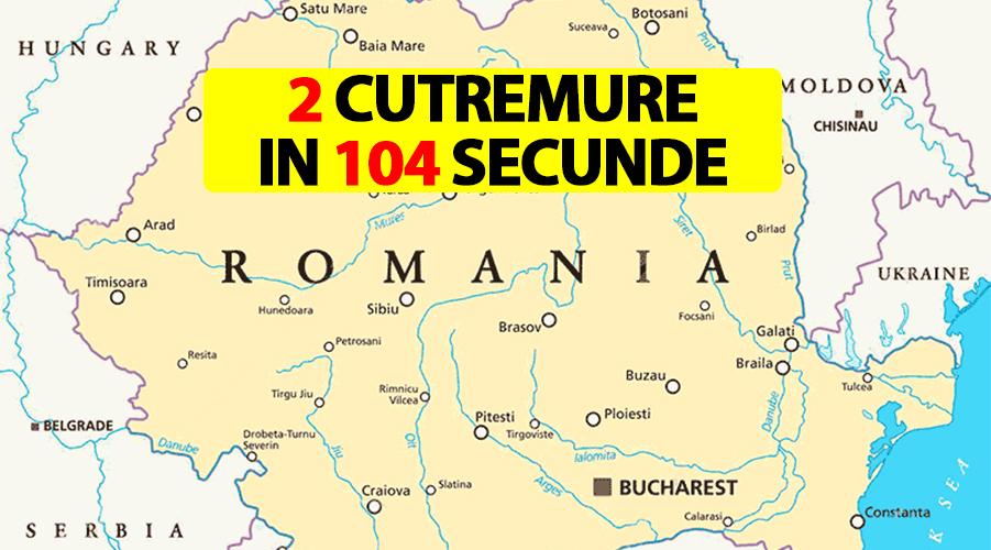 Două cutremure în 104 secunde, ambele de suprafața, în exact același loc. În ce orașe din România s-au resimțit