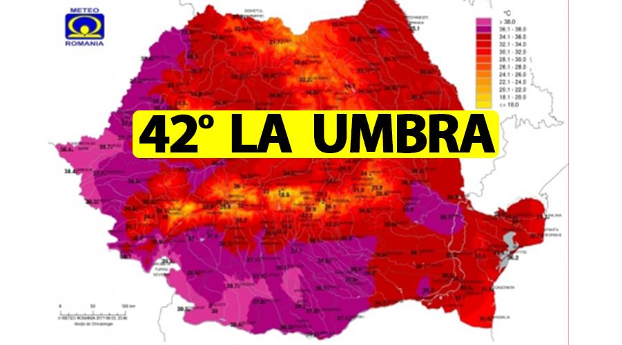 42 de grade Celsius la umbră - cea mai ridicată temperatură în luna iunie din istoria României