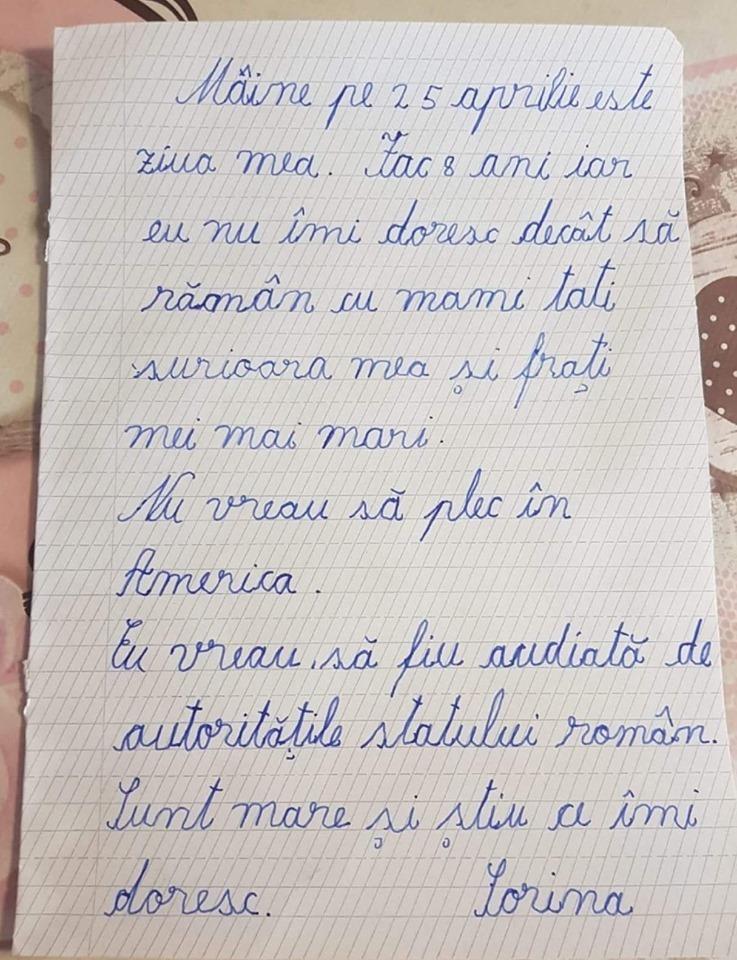 Scrisoarea emoționantă a Sorinei, fetiţa luată cu mascaţii pentru a fi dată în adopţie unui cuplu de români stabiliţi în America. Sursa foto: captură Antena 3