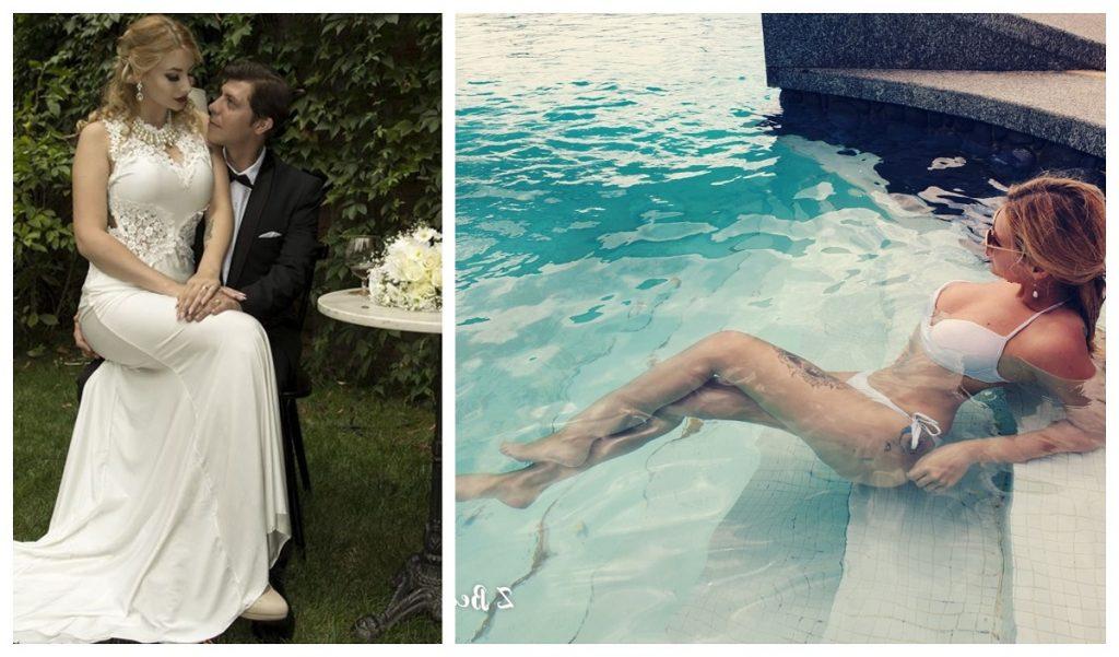 Monica și Alexandru Şalaman, în ziua nunții (foto stânga); soția fostului cântăreț, surprinsă recent la o piscină din Tenerife (foto dreapta). Sursa foto: Facebook