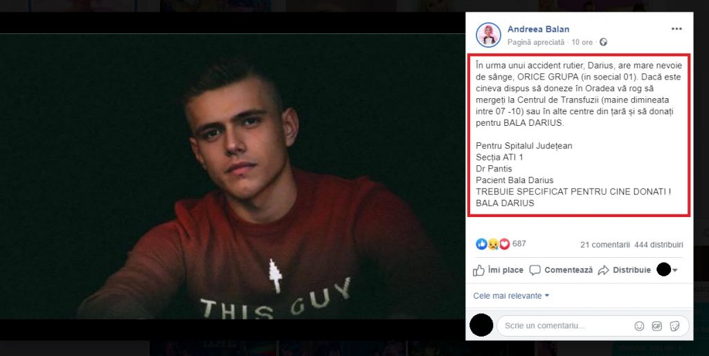 Haideți să ajutăm! Să fim eroi pentru Darius Bala care are nevoie urgentă de sânge. Andreea Bălan s-a alăturat luptei crâncene pe care o duc părinții tânărului care au făcut apel la oameni să doneze sânge. © Facebook