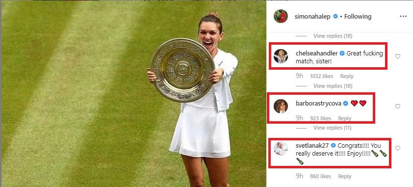 Simona Halep a învins-o sâmbătă, 13 iulie, pe Serena Williams în finala de la Wimbledon, obținând cel de-al doilea titlul de Grand Slam din carieră. Sursa foto: Instagram