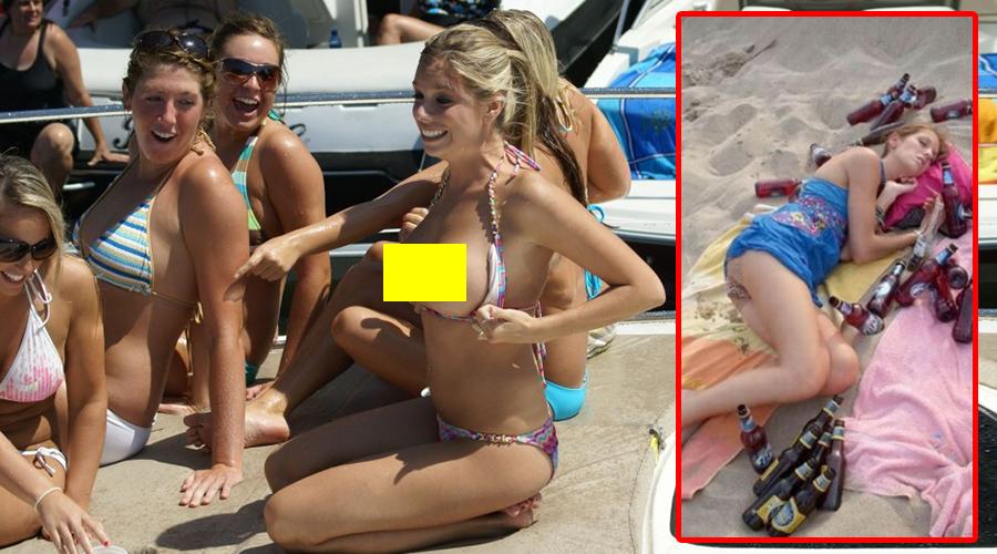 Desfrâu la mare! Aceste fete s-au îmbătat pe plajă și s-au dezbrăcat sub privirile tuturor
