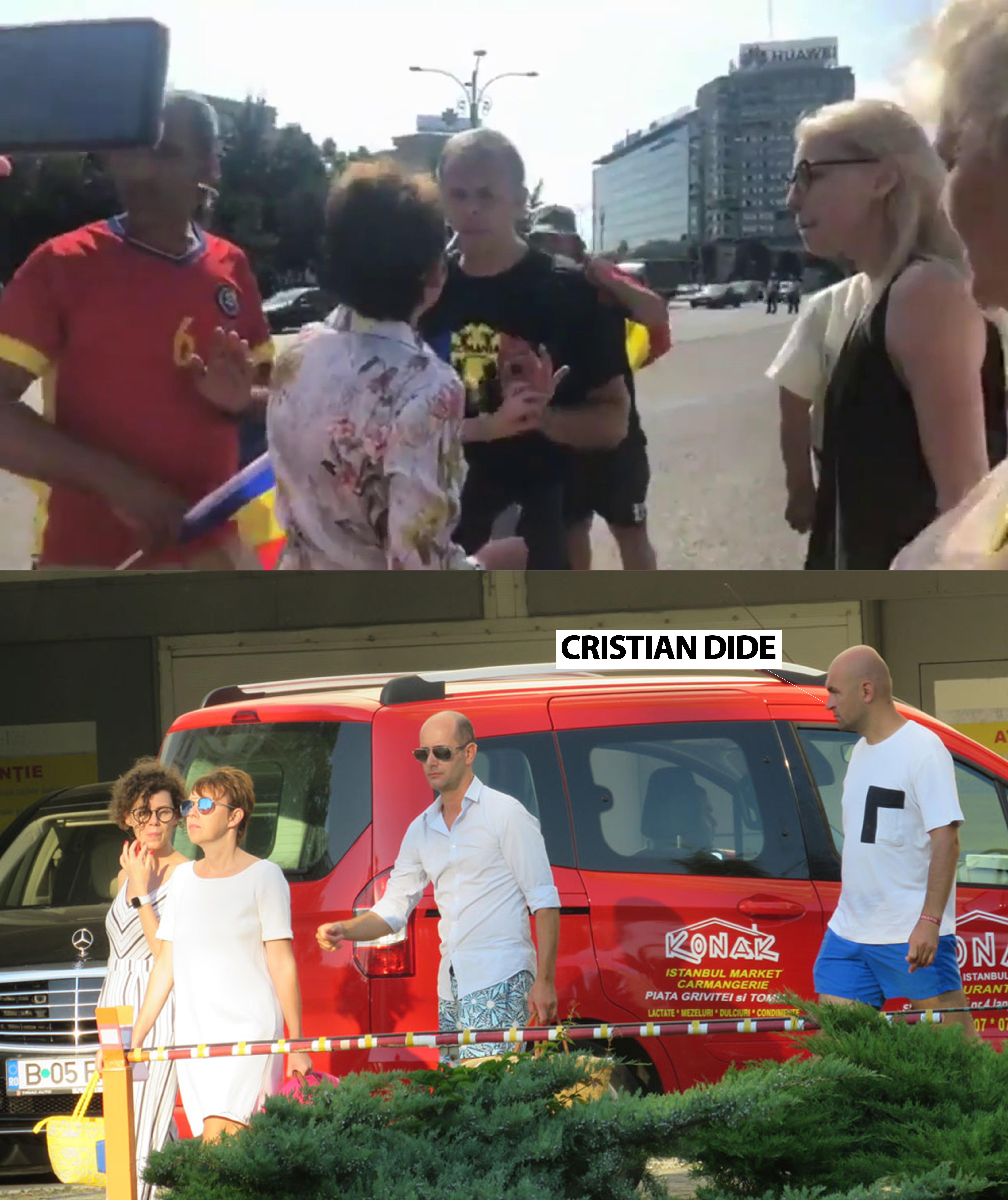 Cele două persoane care l-au însoțit pe Cristian Dide și pe partenera acestuia au intrat într-un conflict cu Călin Bot la un protest din Piața Victoriei