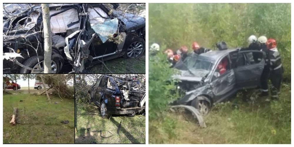 Colaj cu imagini surprinse în urma accidentului în care a murit Răzvan Ciobanu (foto stânga) și o fotografie realizată după incidentul rutier în care Anamaria Pop și-a pierdut viața (foto dreapta)