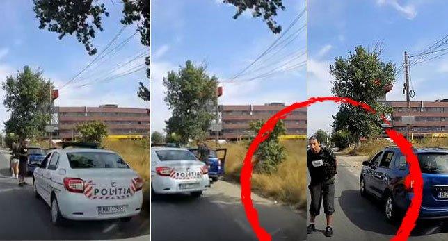 Gestul scandalos făcut de acest bărbat după ce a fost oprit de Poliție. VIDEO