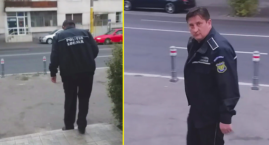 Agent de la Poliţia Locală, rupt de beat pe străzile din Constanţa. Omul abia se poate ţine pe picioare. VIDEO
