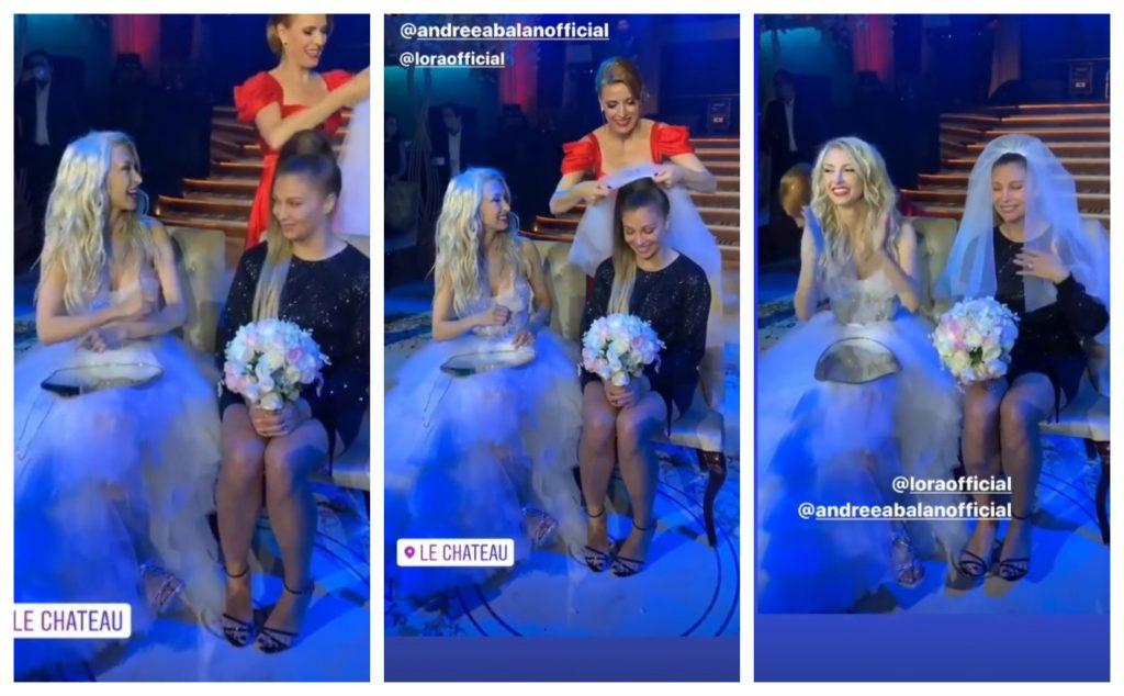 Cântăreața Lora a prins buchetul de mireasă al Andreei Bălan © Instagram Stories