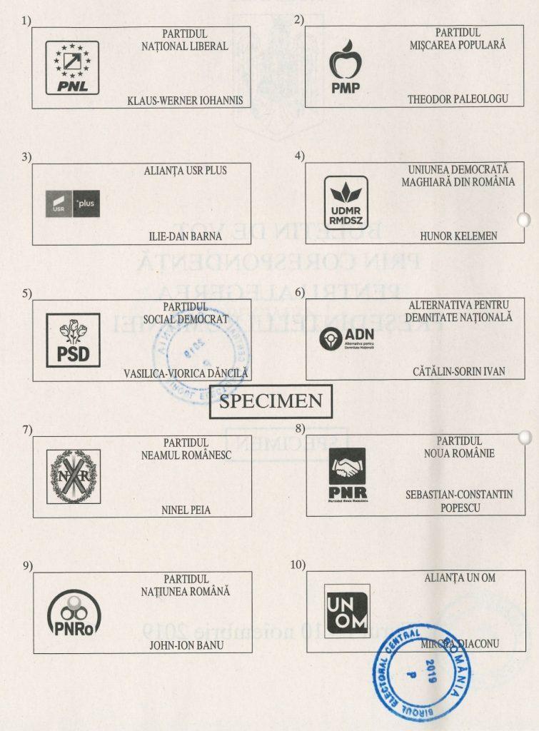 Alegeri prezidențiale 2019 stampila pe buletinul de vot