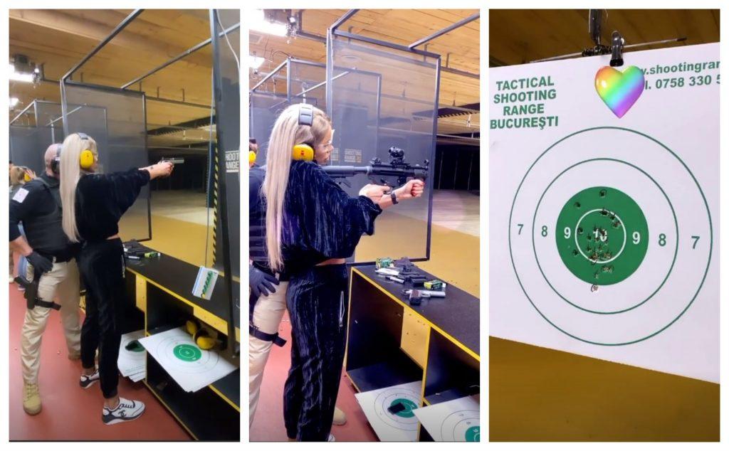 Recent, Bianca Drăgușanu a tras cu arma într-un poligon de tir din București © Instagram Stories