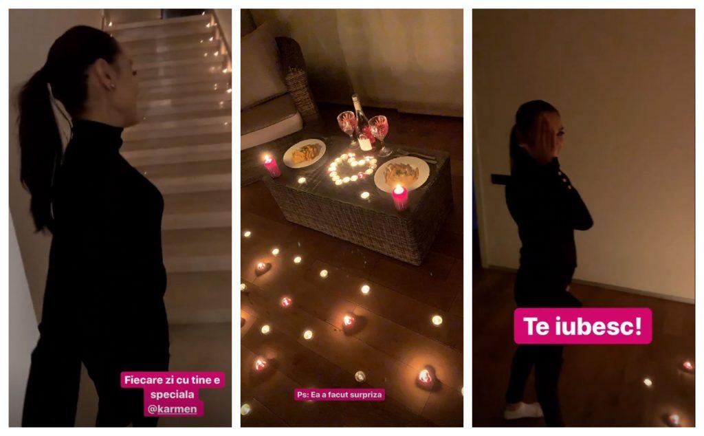 Karmen și-a surprins soțul aseară cu o cină romantică, iar prin casă a pus zeci de lumânări © Instagram Stories