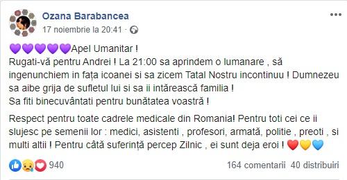 Ozana Barabancea, apel la rugăciune pentru Andrei, un adolescent diagnosticat cu o maladie mortală © Facebook